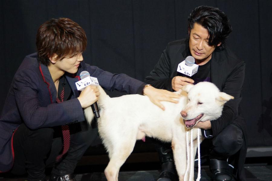 本編に登場する猟犬のコウと戯れる岩田剛典