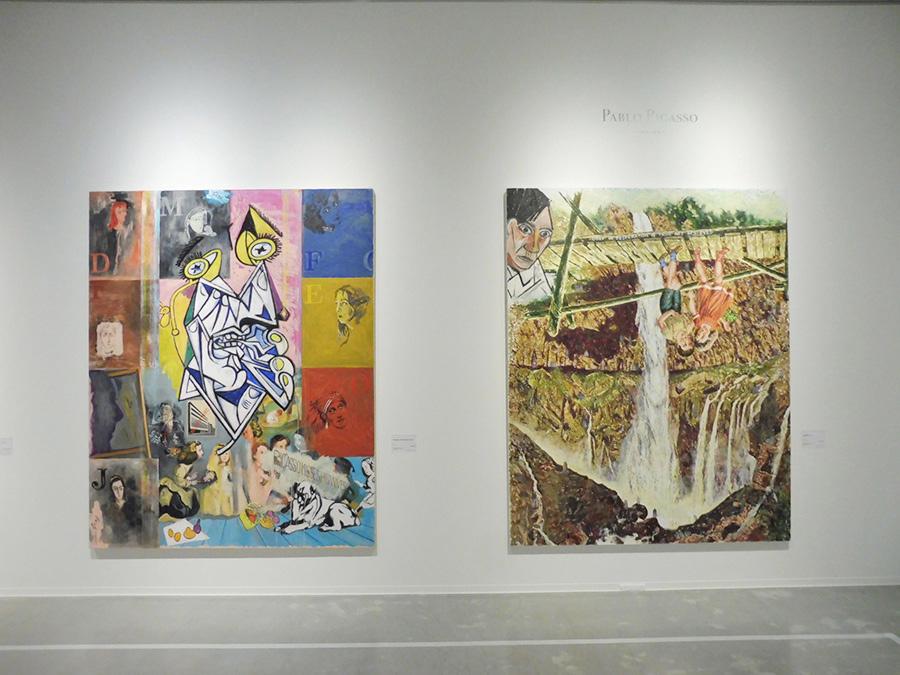 左:《Picasso misses his wives》2014年 国立国際美術館蔵 右:《20年目のピカソ》2001年 東京都現代美術館蔵 横尾は1980年にニューヨーク近代美術館の「ピカソ展」を見て、画家への転向を決断した