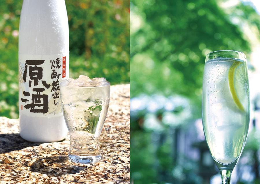 左から「大関甘辛の関寿庵」で飲める、山田錦十年貯蔵オンザロックは300円。「白鷹禄水苑」では、Sakeレモンサワーが600円