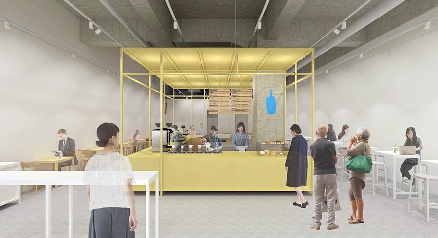 店内の中央には、真鍮素材の櫓を汲み上げたコーヒーバーカウンター