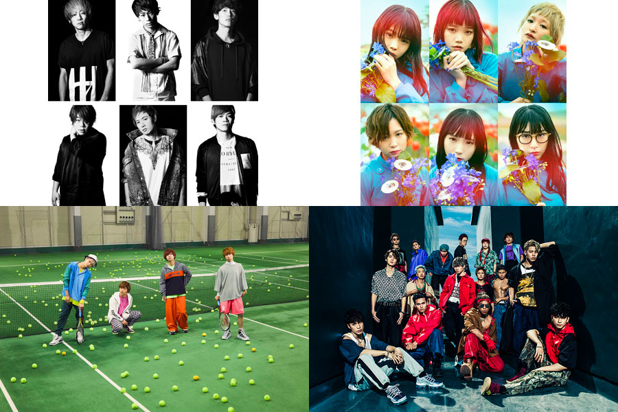 (左上から時計回りに)UVERworld、BiSH、THE RAMPAGE from EXILE TRIBE、KEYTALK