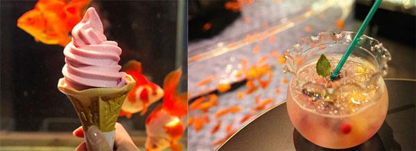 ラズベリー味の「金魚ソフトクリーム」(360円)と、「金魚ソーダ~金魚鉢付き~」(750円)