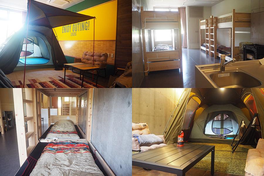 ホテルはテントタイプと2段ベッドタイプがスタンバイ、「ロゴス」グッズもいっぱい(京都府城陽市)