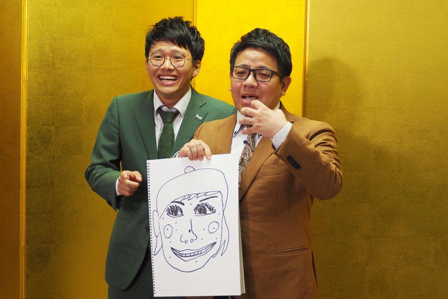 「重盛さと美さんに似てます。ほくろは2〜3倍で描いてます」と明かす昴生(右)