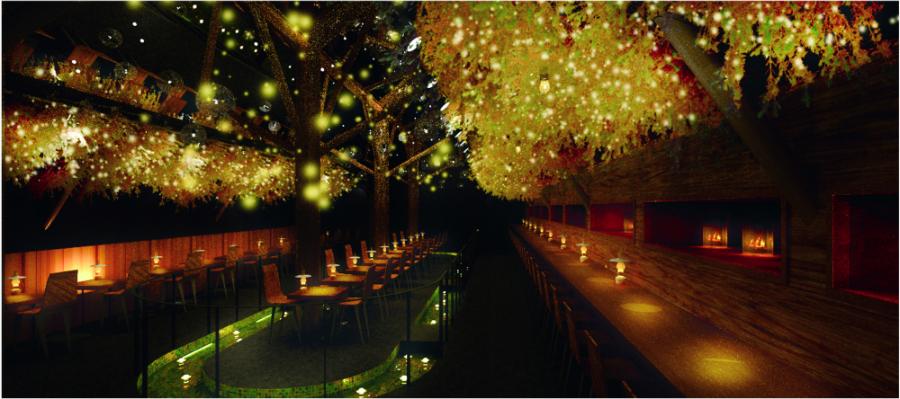 中央の席の足元には水路が。灯りを浮かべて、幻想的な雰囲気を演出