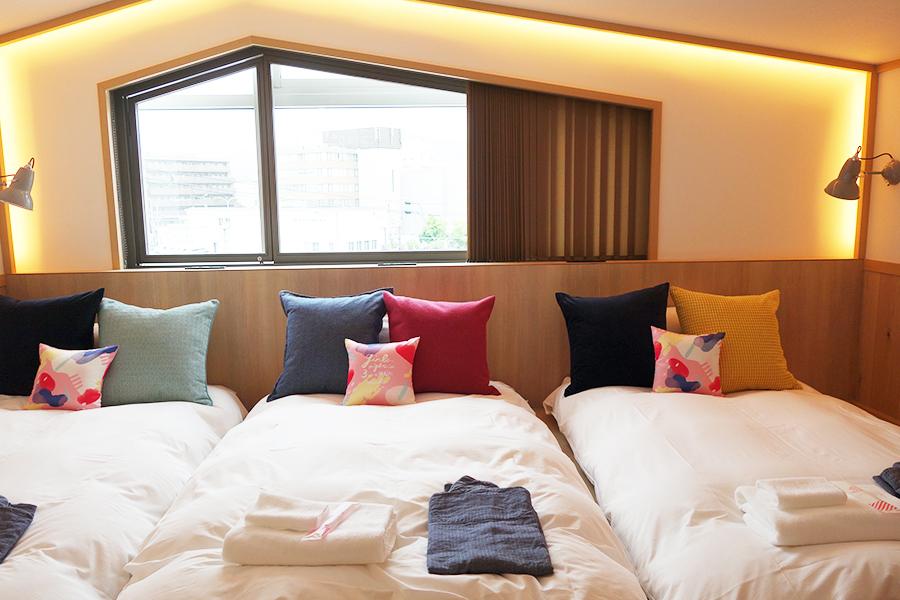 3人公平に泊まれるように。ベッドの配置は部屋によって異なる