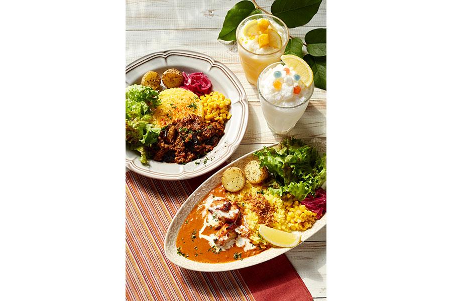 (写真右から) ローストチキンとレモンのクリーミーカレーナスとトマトのキーマカレー(各ドリンク付き1500円)