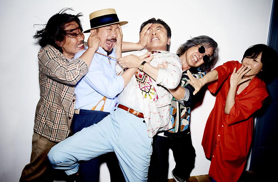 今年40周年を迎えたサザンオールスターズのメンバー。左から野沢秀行、関口和之、桑田佳祐、松田弘、原由子