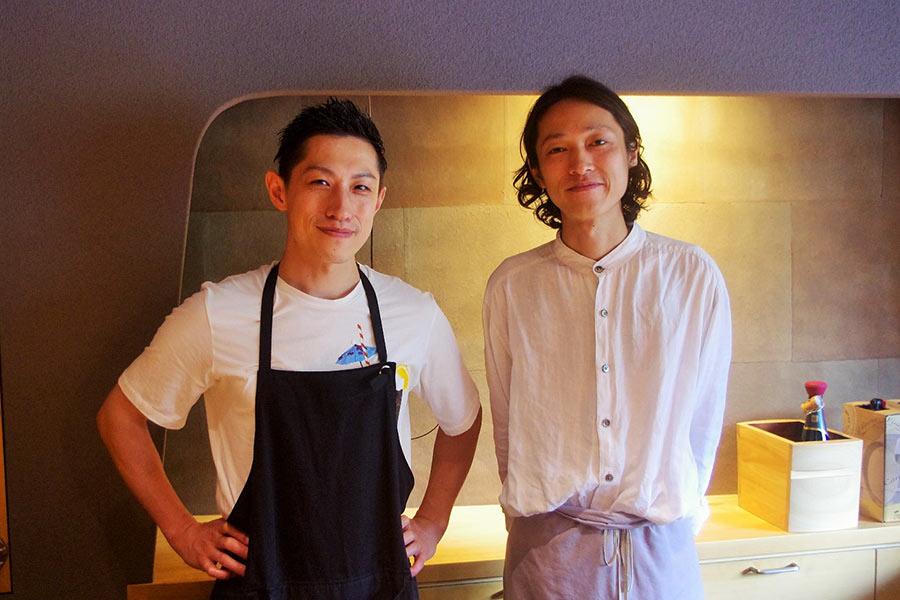 イベント発起人でもある「鮨 三心」の石渕佳隆さん(左)と「hapo」の国本幸延さん(7月29日・大阪市内)
