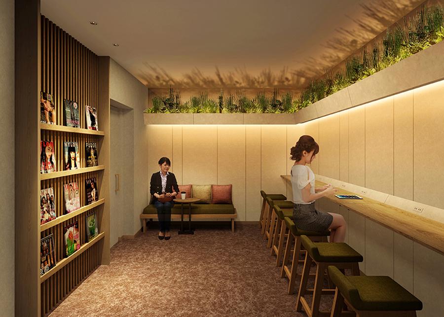 女性専用ラウンジ、ドリンクや読書が楽しめる空間に