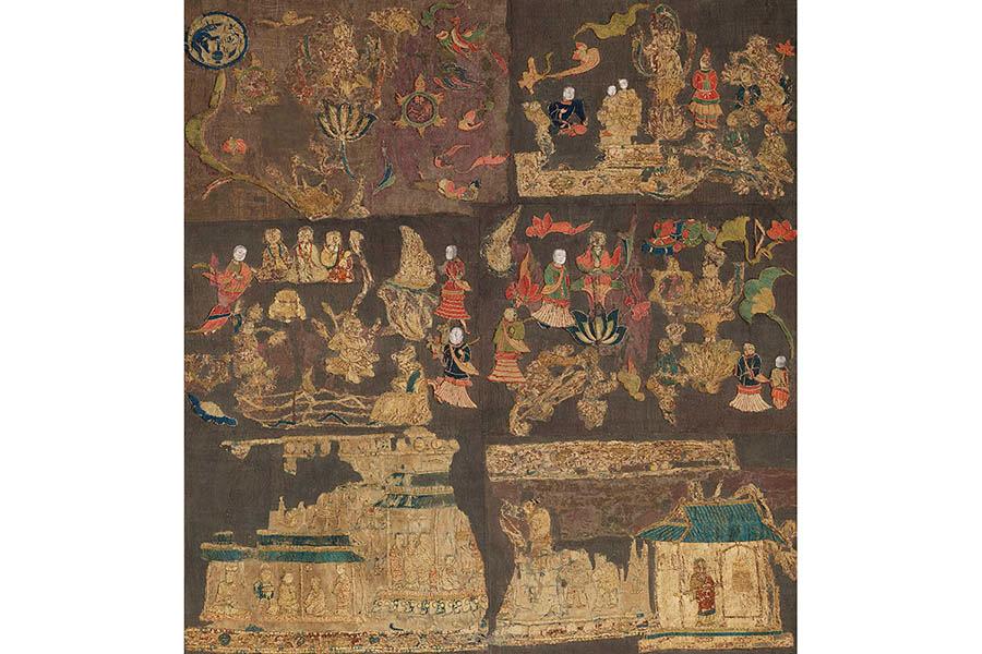 国宝 天寿国繍帳 飛鳥時代(7世紀)、鎌倉時代 建治元年(1276) 奈良・中宮寺