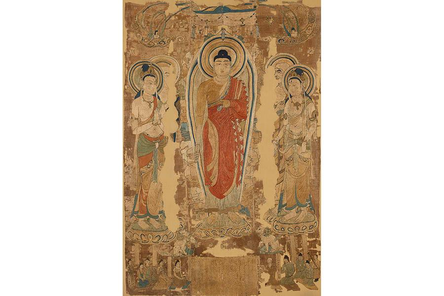 刺繍霊鷲山釈迦如来説法図 中国・唐(8世紀) 英国・大英博物館