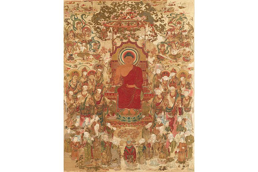 国宝 刺繍釈迦如来説法図 奈良時代または中国・唐(8世紀) 奈良国立博物館