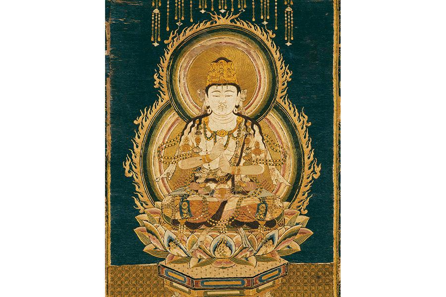 重要文化財 刺繍大日如来像(部分) 鎌倉時代(13~14世紀) 京都・細見美術館