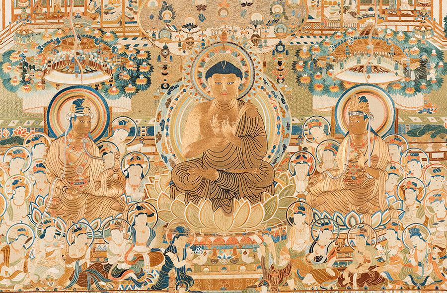 刺繍當麻曼荼羅(部分) 江戸時代 明和4年(1767) 京都・真生極楽寺 画像提供:凸版印刷株式会社