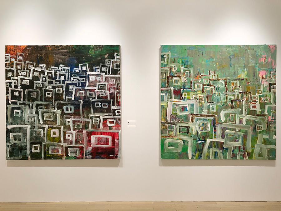 (左)窓 2016年 162×162cm (右)まど。