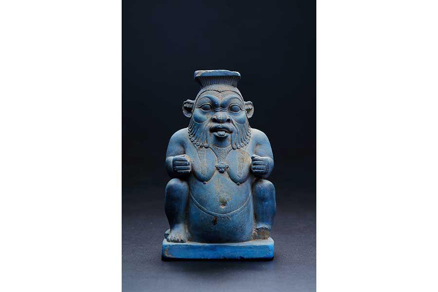 ベス神形容器 エジプト 前7-前6世紀 エジプシャンブルー MIHO MUSEUM蔵 ※青い作品