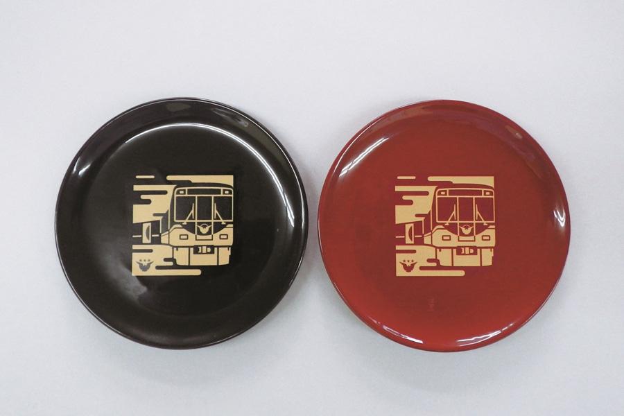京阪電車×漆器の井助 プレミアムカー漆まめさら(各3000円)