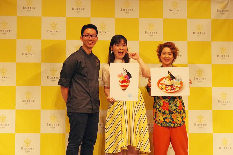 左から、スイーツを担当したショコラティエ江口和明さん、尼神インターの誠子、渚