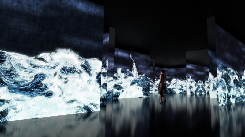 「千住 博 & チームラボ コラボレーション展『水』」より、チームラボ《Black Waves:Wander, Discover and Re-emerge》
