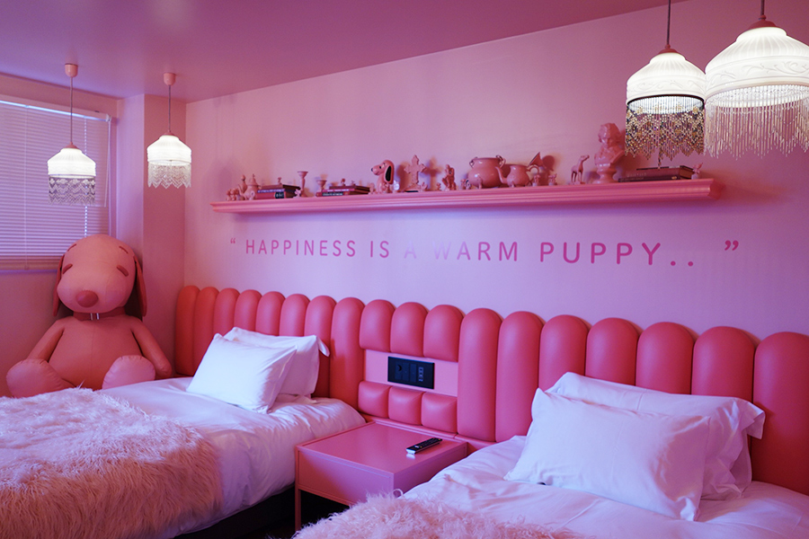 子犬を抱きしめるのが大好きなルーシーを表現した64号室は真っピンク