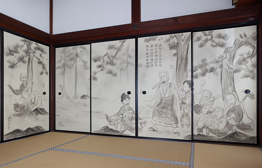 伊野孝行「オトナの一休さん」 NHKのEテレで放映されたアニメ「オトナの一休さん」で絵を担当した伊野は、アニメのテーマソングを気持ちよく歌う一休さんの姿を一気呵成に描いた