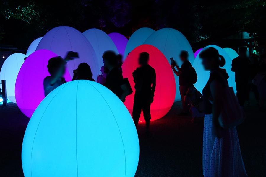 球体同士が呼応するだけでなく、触ると色が変化したり、反応を楽しむことができる