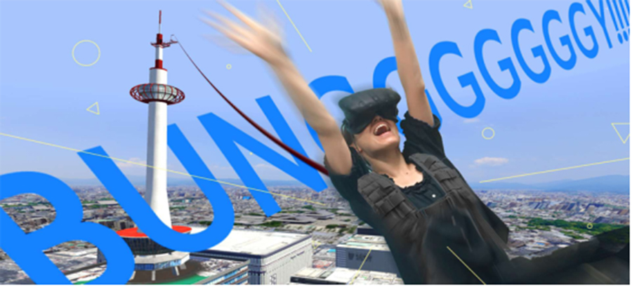 VR装置を付けて、仮想現実を味わえる