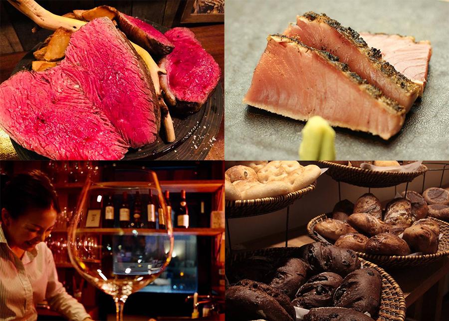 「ビストロギャロ」の塊肉、「料和 大道」の鰹の塩タタキ、「メゾンムラタ」のパン、「アワとワインとシェリーとチーズ」のシェリーカクテルなどが登場(写真はイメージ)