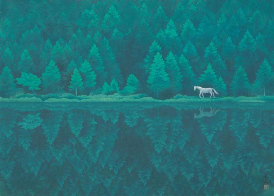 《緑響く》1982年、東山魁夷、長野県信濃美術館 東山魁夷館蔵