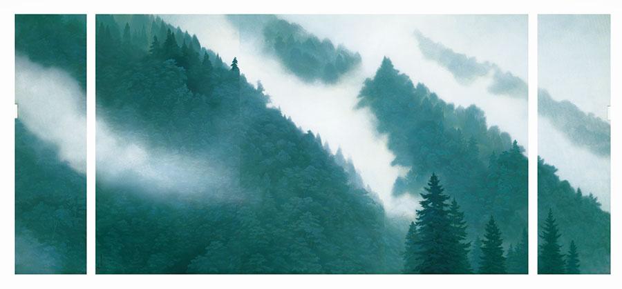 唐招提寺御影堂障壁画のうち、《山雲》(部分) 1975年、東山魁夷、唐招提寺蔵