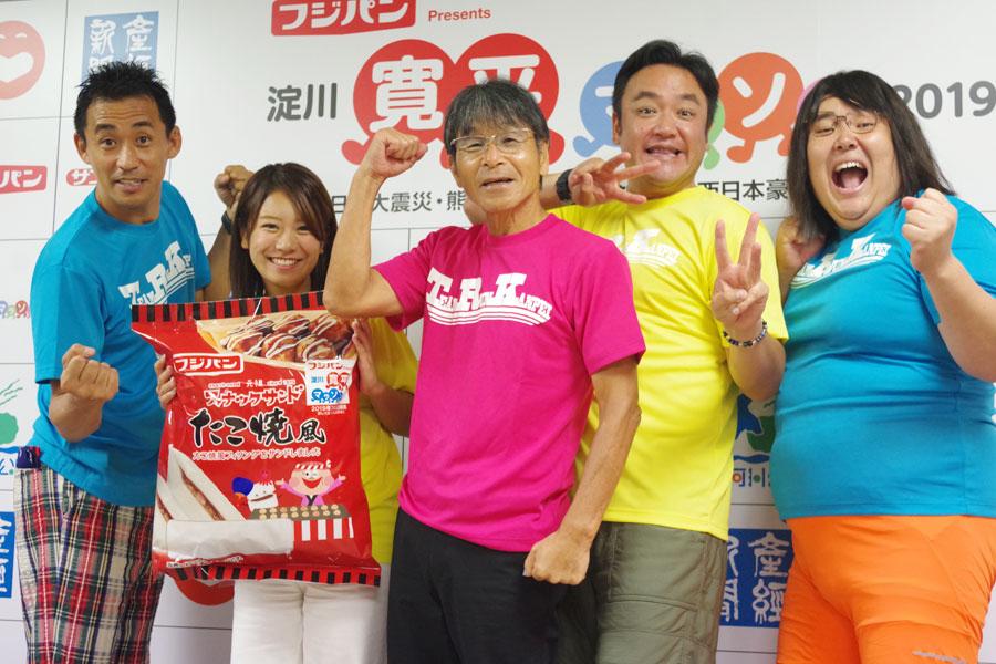 左から、開催発表会見に登場した石田靖、福本愛菜、間寛平、たむらけんじ、ガリガリガリクソン(29日・吉本興業 大阪