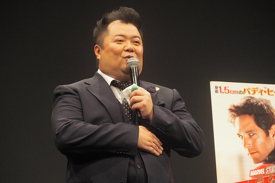 映画『アントマン&ワスプ』のイベントに登場したブラックマヨネーズの小杉竜一(3日・大阪市内)