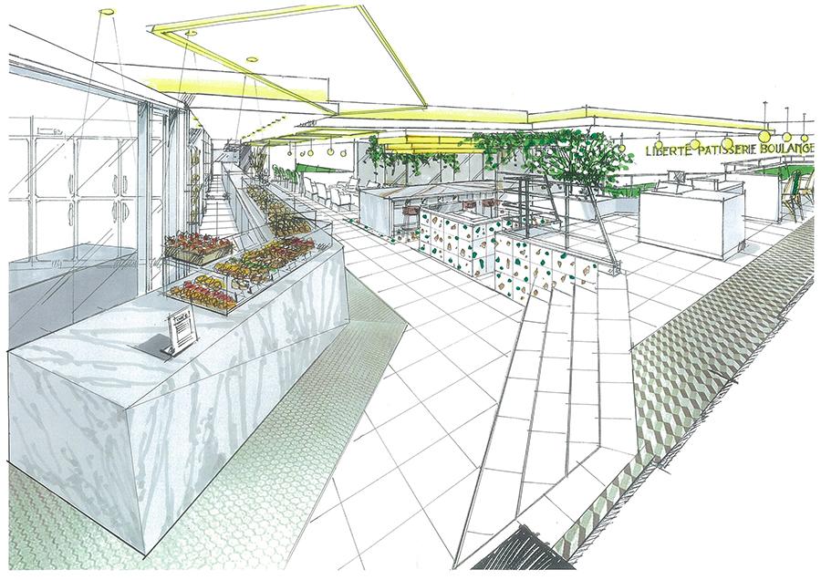 京都店のイメージ。商品がならぶ約15mもの大理石カウンター