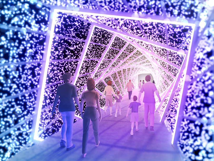 美術家「友井隆之」製作のスパイラルトンネルが、7色の光に輝く
