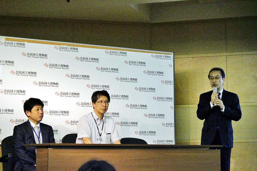 奈良国立博物館として節目となる70回目の『正倉院展』の会見で挨拶する松本伸之館長