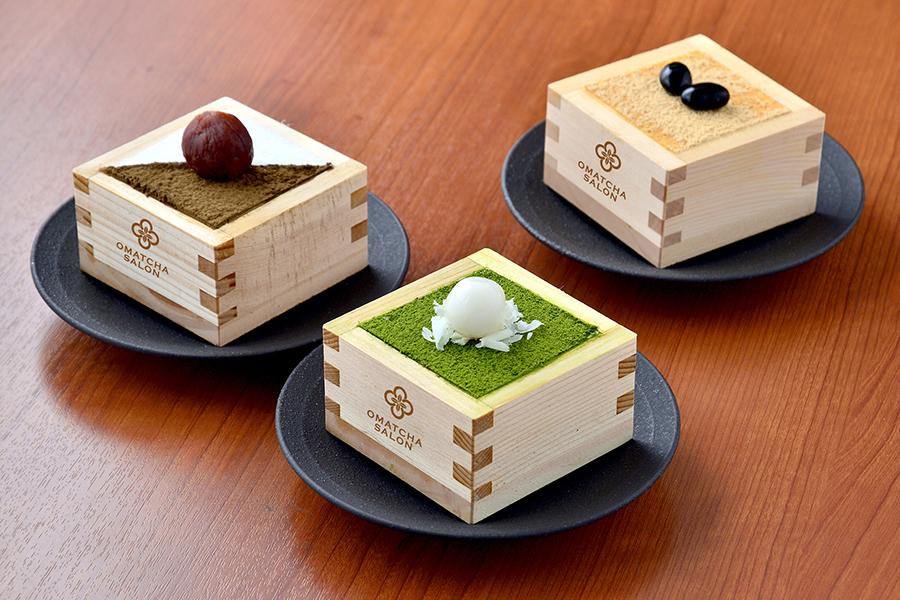 宇治抹茶ティラミス550円(税別)をはじめ、ほうじ茶ティラミス、黒豆ときな粉ティラミスなども