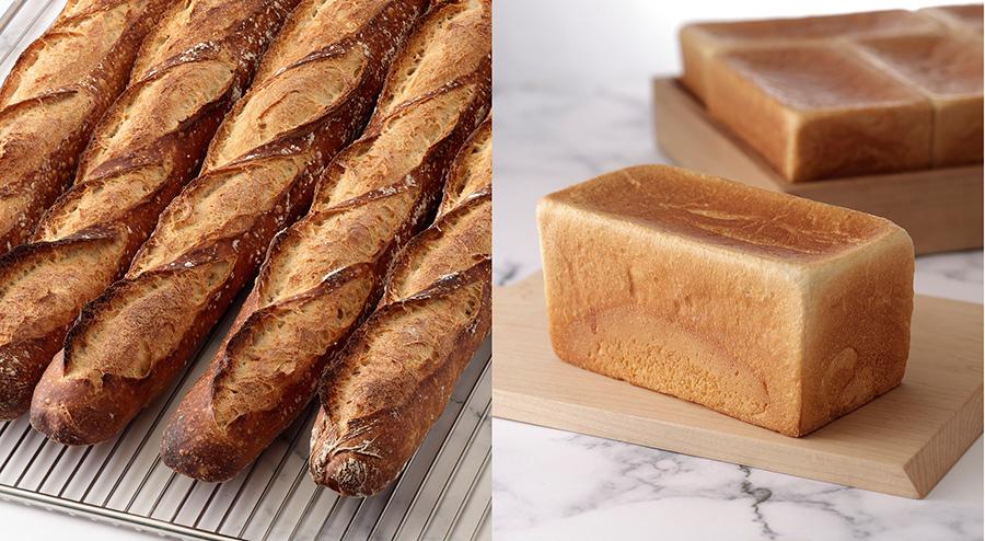 自家製天然酵母を使い、長時間低温発酵させたバゲットは300円。パン ド ミ ジャポネ(450円)は国産小麦を使用した日本限定食パン