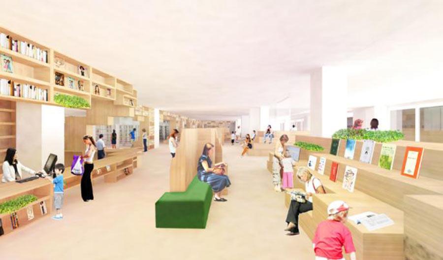 新たに誕生する北神図書館(イメージ)、「知の空間」を感じさせる温かみのあるデザイン