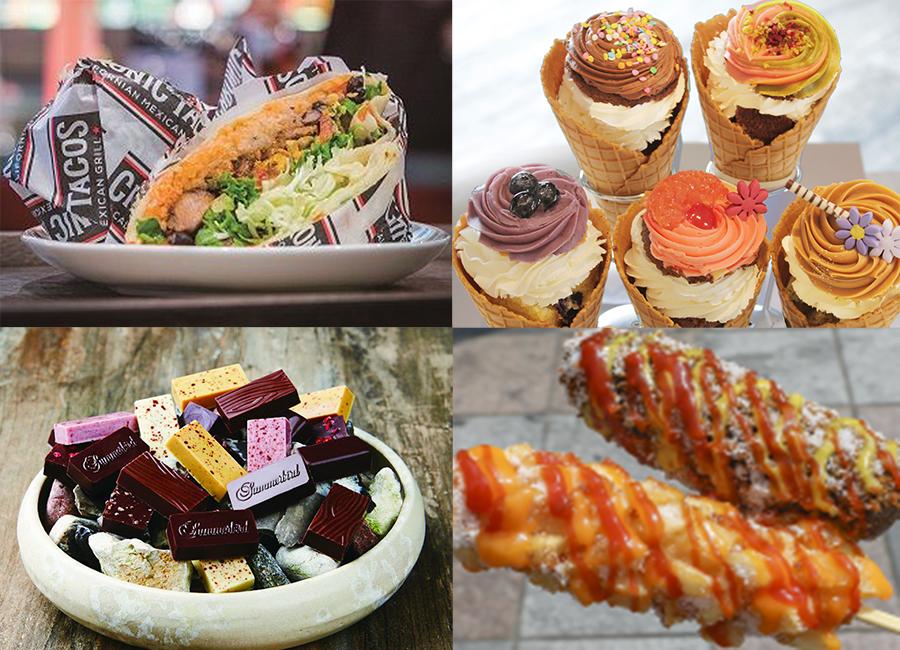 左上から時計回りに「クロニックタコス」、「ローラズカップケーキ」、「ありらんホットドッグ」、デンマークのチョコ「サマーバードオーガニック」