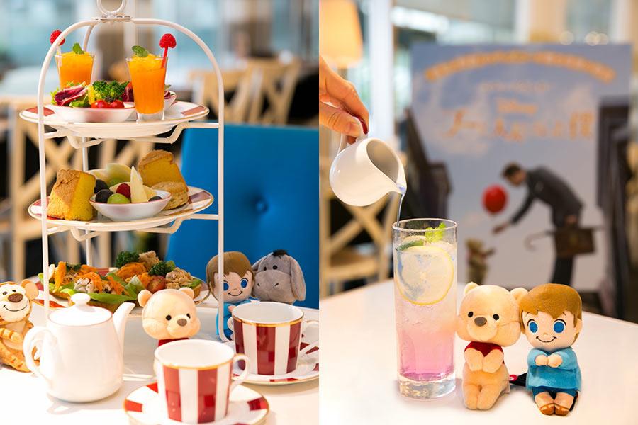 左は「『なんにもしない』アフタヌーンティーセット」(1800円・写真は2人分)、右は「まったりを楽しむレモネード」(720円) © 2018 Disney