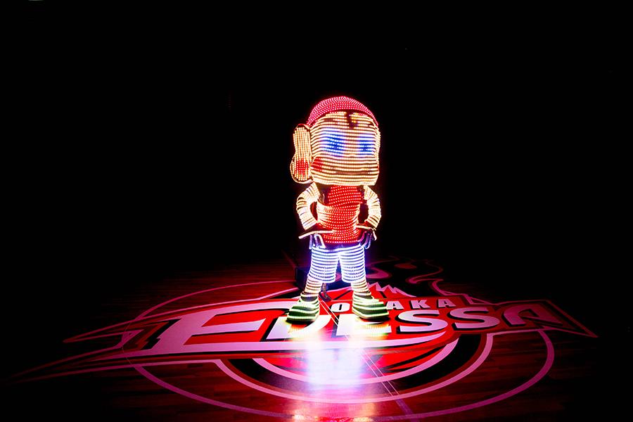 LEDで光る「スーパーまいどくん」がエントランスに登場する予定