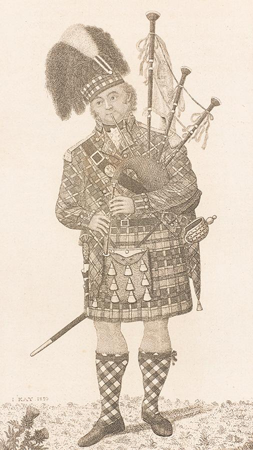 ジョン・ケイ「バグパイパー アーチボルド・マッカーサー」 1810年 京都ノートルダム女子大学 図書館情報センター蔵