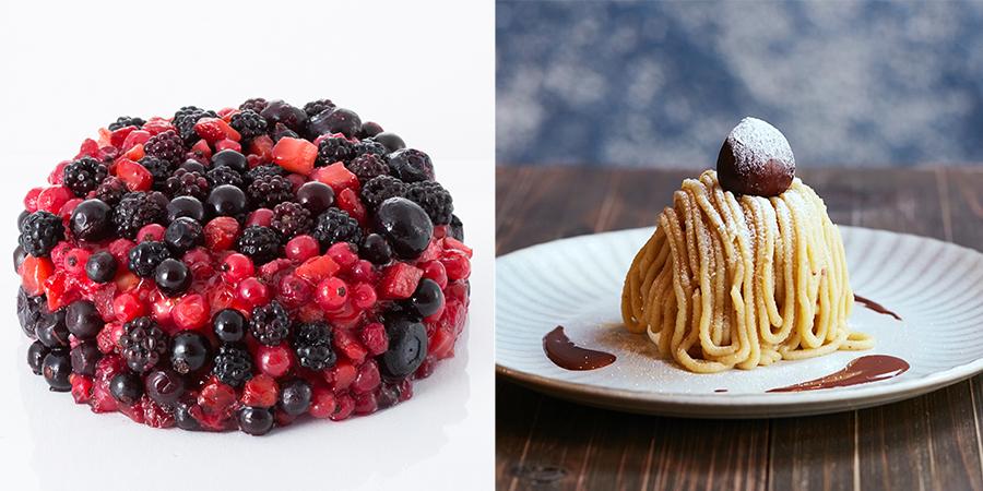 左から、タレントのたむらけんじがプロデュースしたチーズケーキ・マミベリー2200円、イートイン限定の10分モンブラン1448円