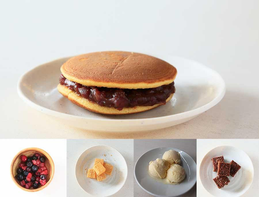 選んだアイテム次第で、好みのデザートに。どら焼きの生地に餡ではなく、アイスやフルーツを挟むことも可