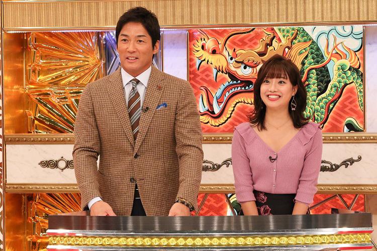 MCの長嶋一茂とアシスタントの柴田阿弥