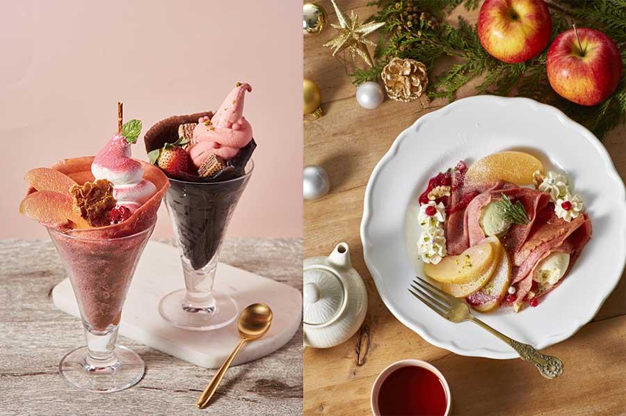 左から、ピンクアップルと、ココアベリーの「フラワリークレープパフェ」。1月28日まで期間限定の「ライ麦のクレープ メリーアップルホリデイ」(1220円)