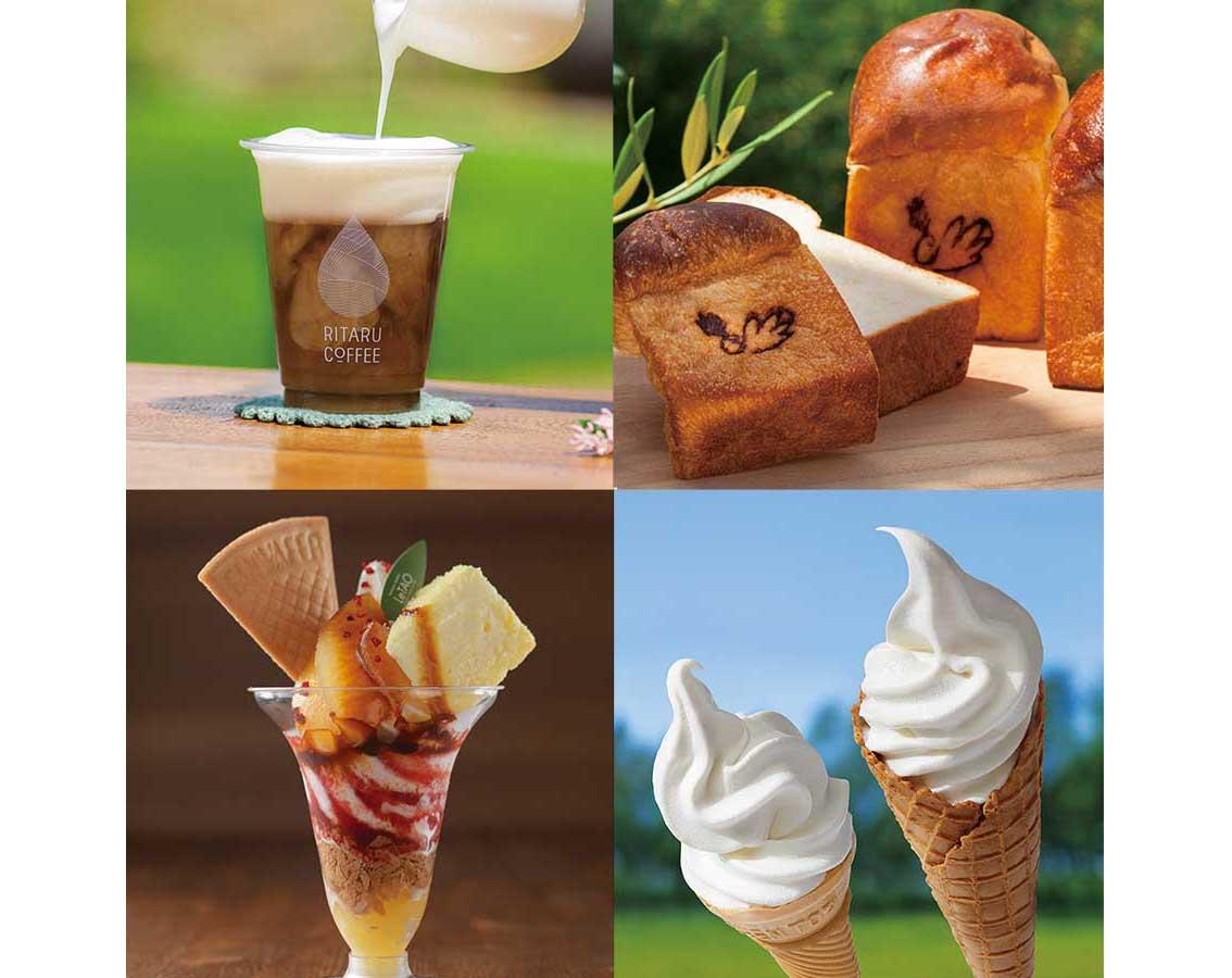 左上から時計回りに「リタルコーヒー」のカフェラテ、「ブーランジェリー ポーム」のミルク食パン、「加藤牧場」と「山本牧場」のソフトクリーム、「小樽洋菓子舗 ルタオ」のパフェ