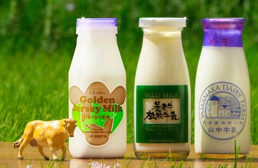 「個性派牧場3社牛乳飲み比べセット」。味を変えて楽しめるように「柳桜茶舗のグリーンティ15g」付き