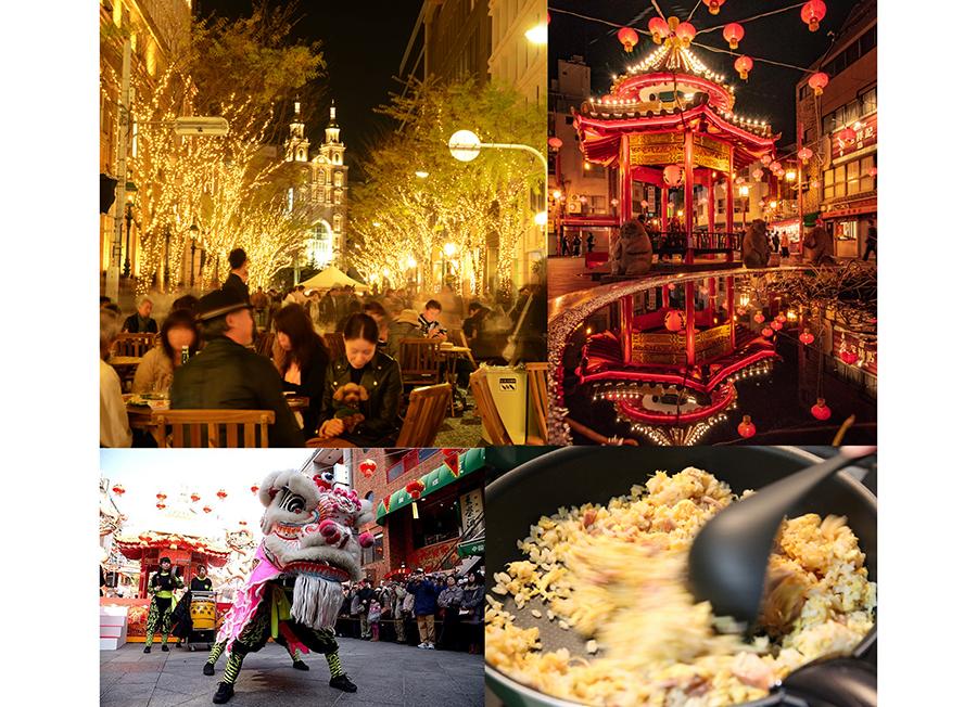 観光客で賑わう南京町と、会場になる明石町筋